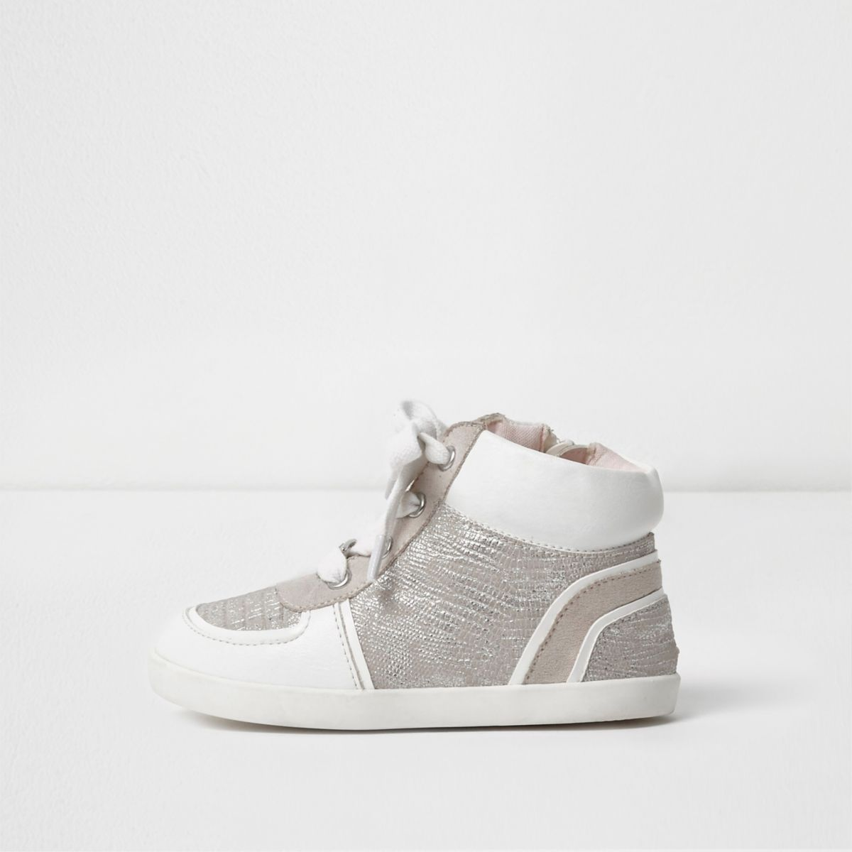 Mini girls white textured hi top sneakers