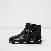 Mini girls black crinkle ankle boots