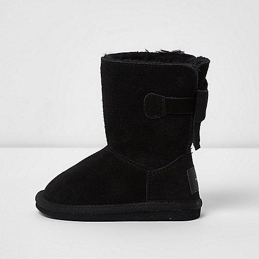 Mini girls black faux fur lined boots