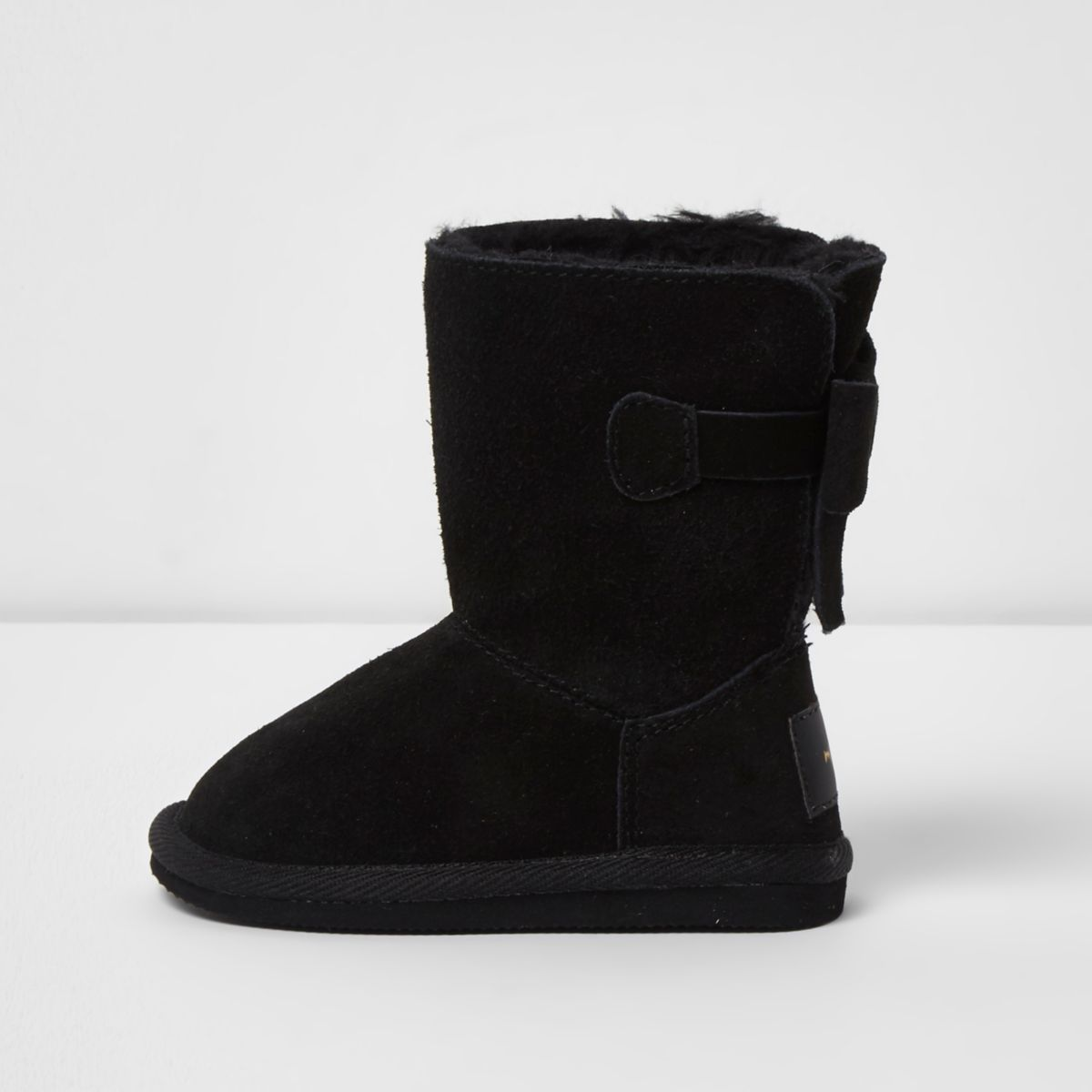 Mini girls black faux fur lined boots