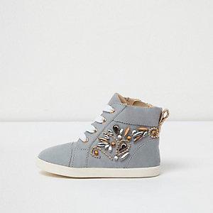 Mini - Blauwe verfraaide hoge sneakers voor meisjes