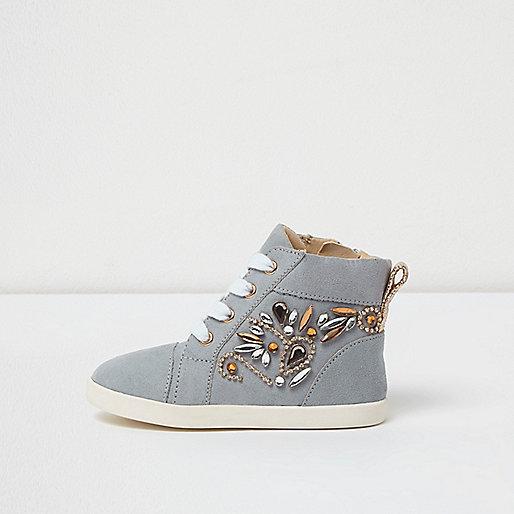 Mini girls blue embellished hi top sneakers