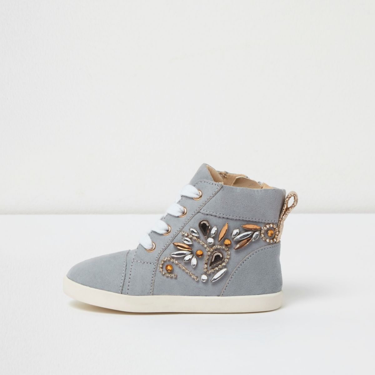 Mini girls blue embellished hi top trainers