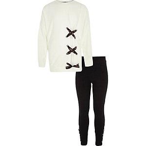 Outfit met crème sweatshirt met vetersluiting voor voor meisjes