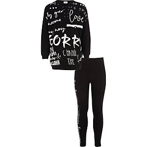 Girls black graffiti print sweatshirt outfit