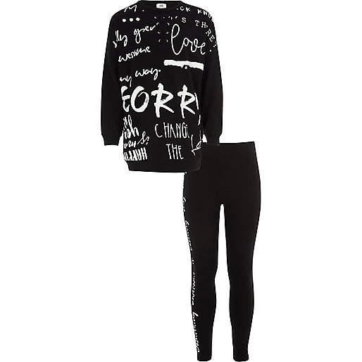 Girls black graffiti print sweatshirt outfit