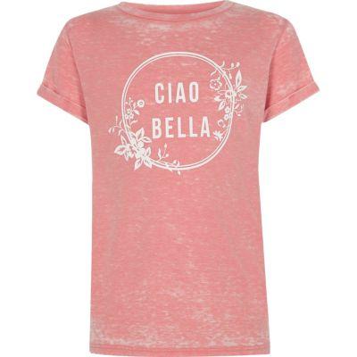 Roze burnout T-shirt met ciao bella'-print voor meisjes
