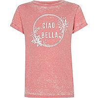 Girls pink burnout 'ciao bella' print T-shirt