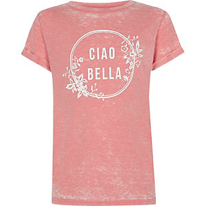 Girls pink burnout 'ciao bella' print T-shirt