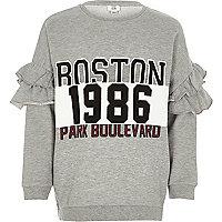 Girls grey 'Boston' ruffle sleeve sweatshirt