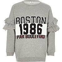 Girls grey 'Boston' ruffle sleeve sweatshirt