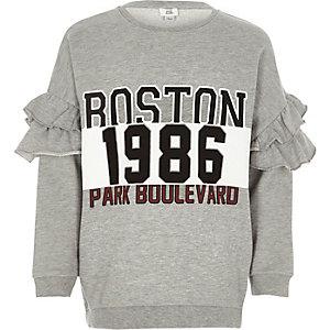 Sweat «Boston» gris à manches à volants pour fille
