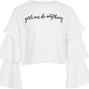 Girls white ruffle sleeve top