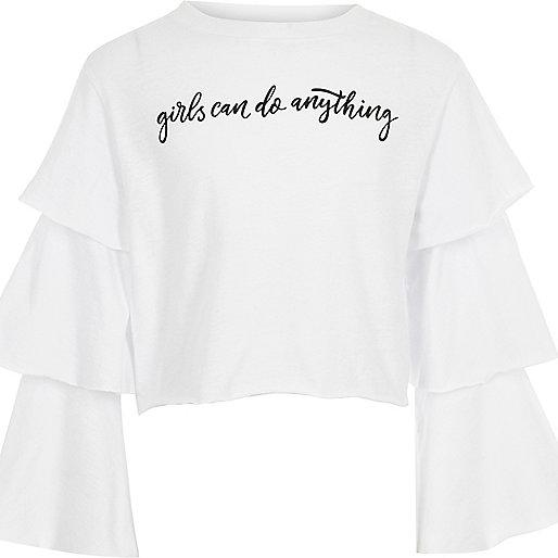 Girls white ruffle sleeve top