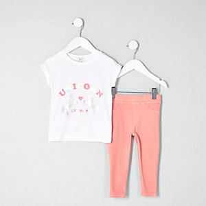 Mini girls white unicorn T-shirt and leggings