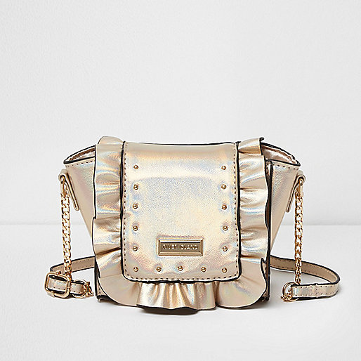 Girls gold ruffle crossbody chain bag