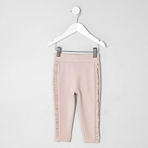 Mini girls light pink ruffle side leggings