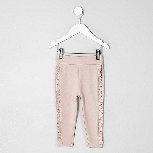 Mini girls light pink ruffle side leggings