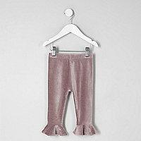 Legging en velours violet côtelé à volants mini fille