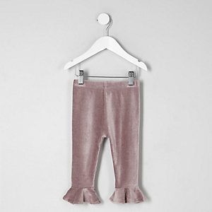 Mini girls purple velvet frill rib leggings
