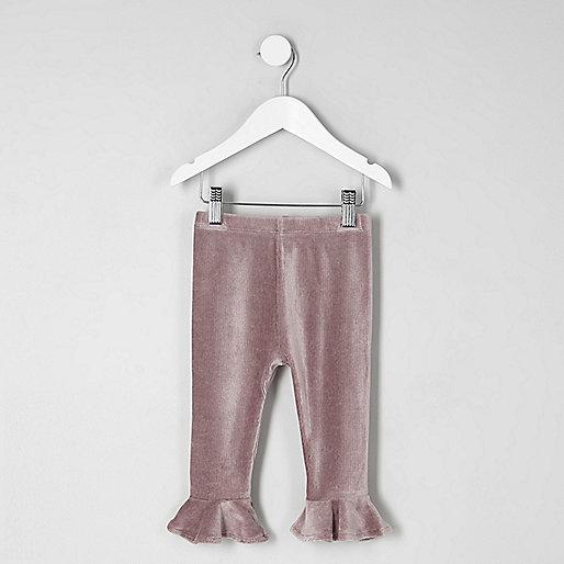 Mini girls purple velvet frill rib leggings