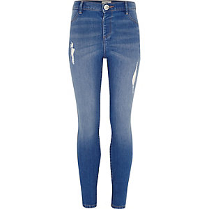 Girls blue distressed skinny Molly jeggings