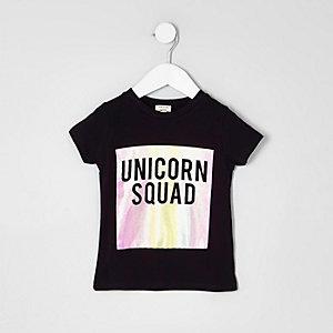 T-shirt imprimé « unicorn squad » noir mini fille