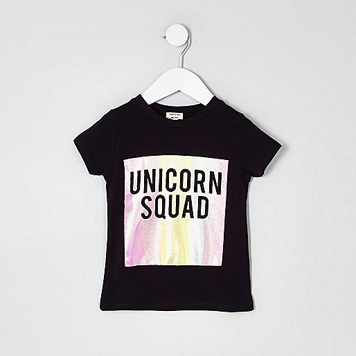 Mini girls black 'unicorn squad' T-shirt