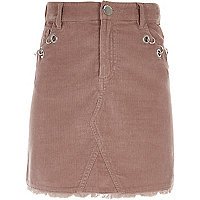 Girls pink corduroy eyelet detail skirt
