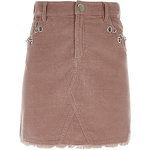 Girls pink corduroy eyelet detail skirt