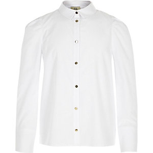 Girls white puff sleeve shirt
