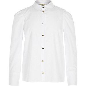 Wit overhemd met pofmouwen voor meisjes