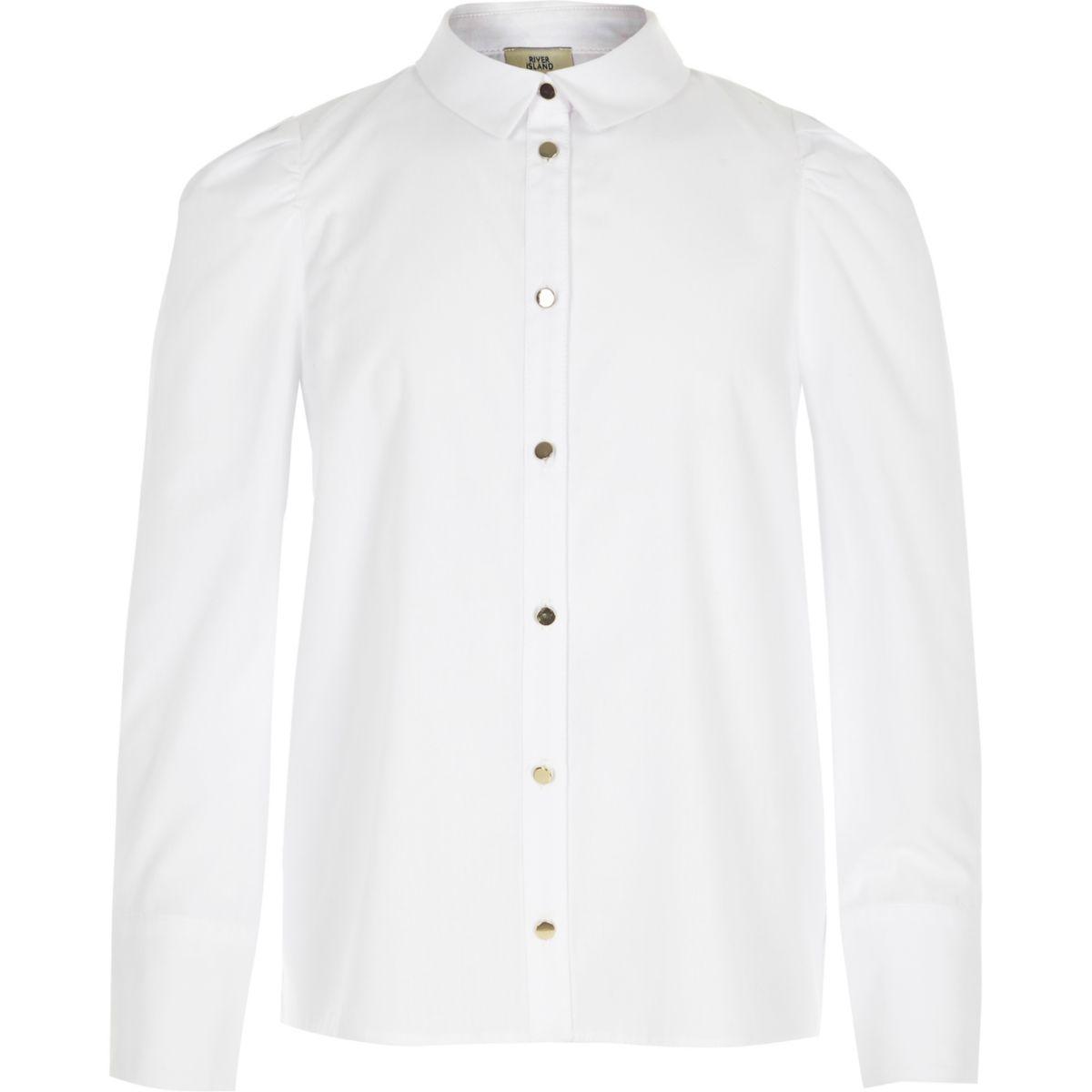 Girls white puff sleeve shirt