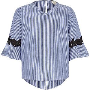 Blauwe gestreepte top met klokmouwen voor meisjes