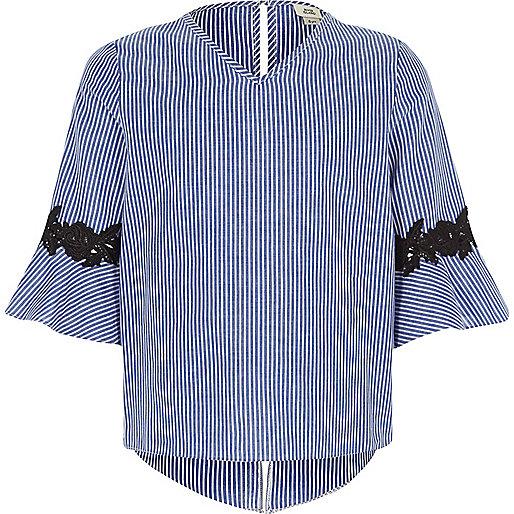 Girls blue stripe print bell sleeve top
