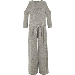 Girls grey marl cold shoulder jumpsuit