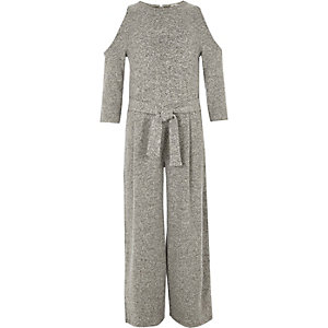 Girls grey marl cold shoulder jumpsuit