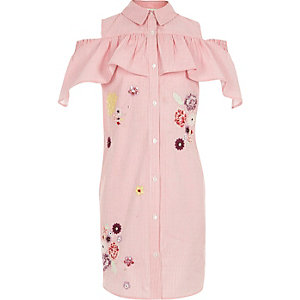 Girls pink stripe cold shoulder shirt dress