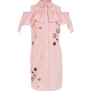 Robe chemise rayée rose à épaules dénudées pour fille