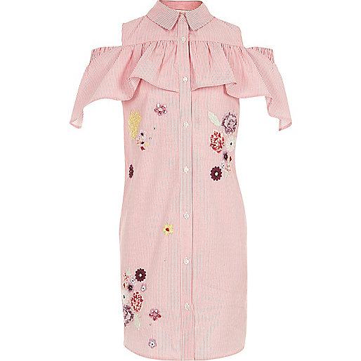Girls pink stripe cold shoulder shirt dress