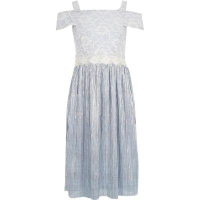 River Island Lichtblauwe jurk met kant en plissé voor meisjes