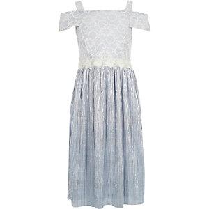 Lichtblauwe jurk met kant en plissé voor meisjes