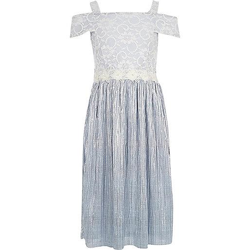 Girls light blue lace and plisse dress