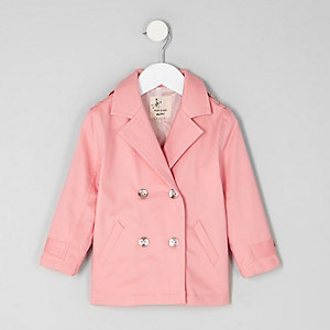 Mini girls pink double breasted trench coat