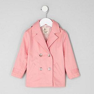 Mini - Roze trenchcoat met dubbele knopenrij voor meisjes