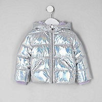 Mini girls silver high shine puffer coat