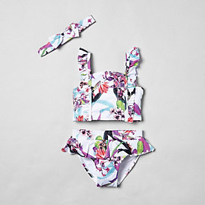 Mini girls white tropical frill tankini
