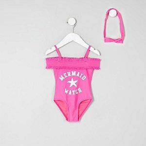 Mini - Roze zwempak in bardotstijl met 'mermaid'-print voor meisjes