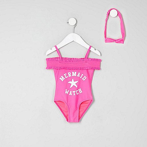 Mini girls pink bardot 'mermaid' swimsuit