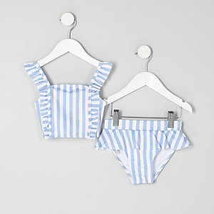 Mini girls blue stripe print bikini set